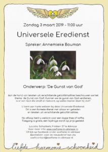 Flyer 3 maart. Universele Eredienst