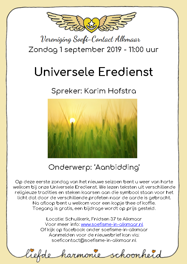 Universele Eredienst – zondag 1 september 2019