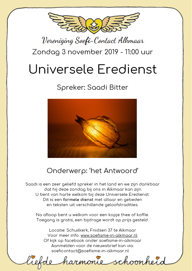 3 november 2019- Universele Eredienst