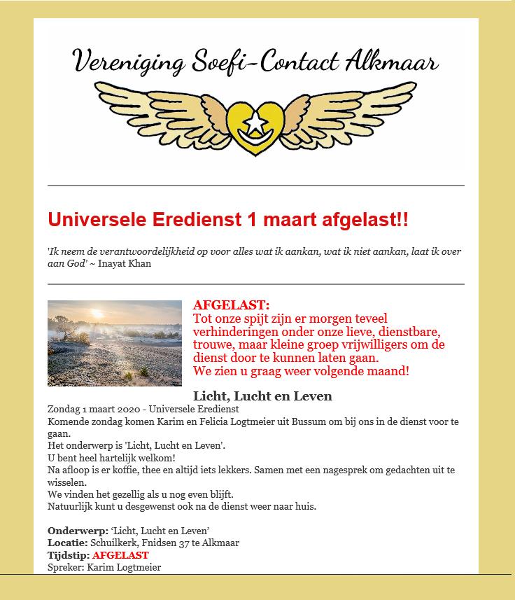 Universele Eredienst 1 maart afgelast!